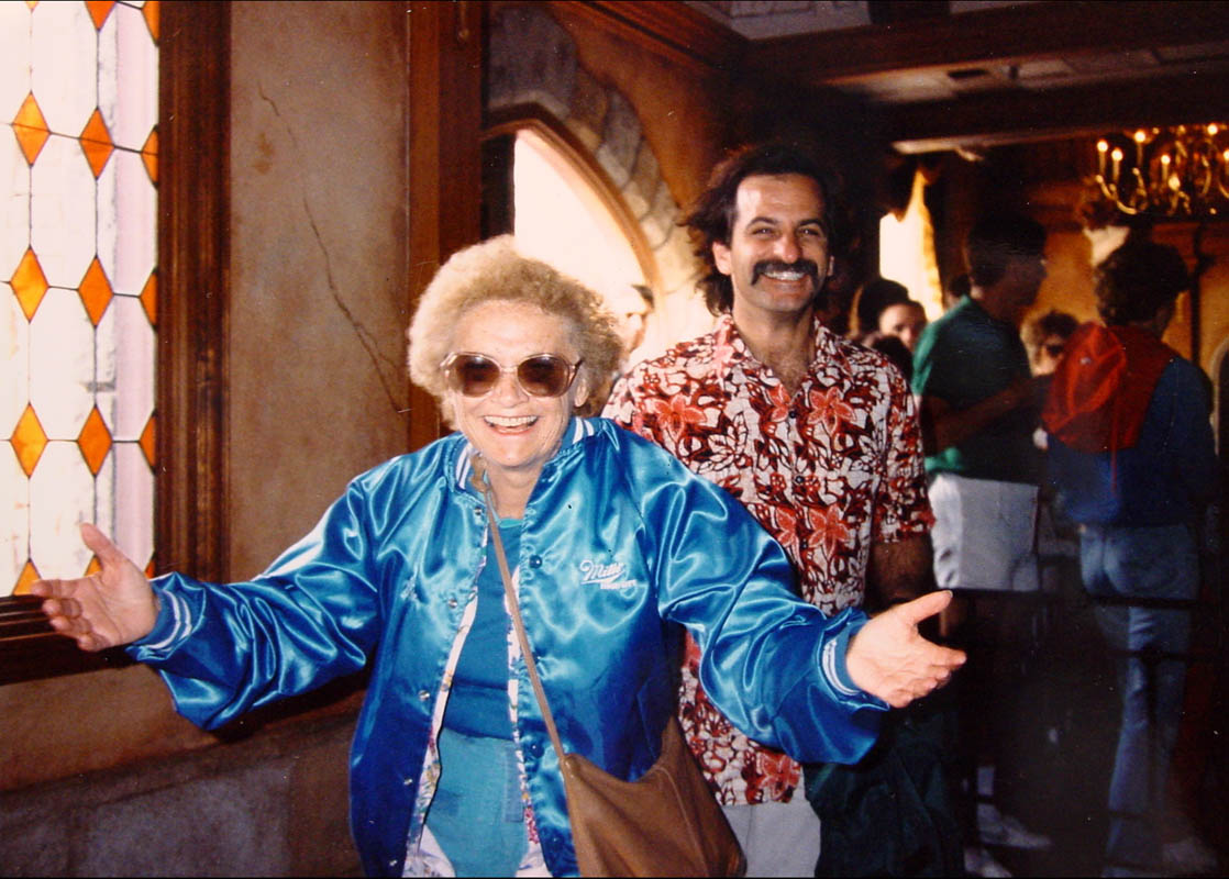 Estelle and Carl at Disneyland, exiting Mr. Toad's Wild Ride.